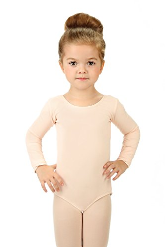 - Elowel Girls' Team Basics Long Sleeve Leotard Nude Pink (size-6-8)