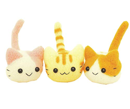 Cool Beans Boutique Needle Felting DIY Kit - Trio Kittens Set with Hamanaka Aclaine (with English Instructions) - Imported from Japan (WFKit-HM-08Kit-Kitty3-2)