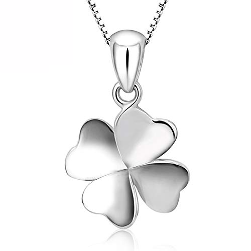 Haluoo_Jewelry Four-Leaf Clover Necklace,Haluoo Dainty 925 Sterling Silver Four-Leaf Clover Pendant Clavicle Chain Necklace Fine Tennis Chain Necklace Birthday Anniversary for Women Girls (Silver)