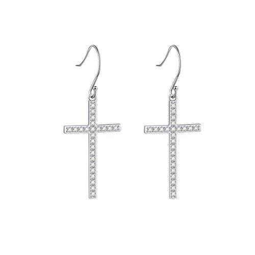 (S925 Sterling Silver Jewelry Classic Cross Dangle Earrings (Cubic zirconia))
