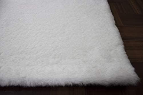 Harmony Furry Fluffy Fuzzy Soft Solid Faux Fur Rabbit Skin Rabbit Hide Animal Skin 6-Feet-by-9-Feet Polyester Made Area Rug Carpet Rug White Color