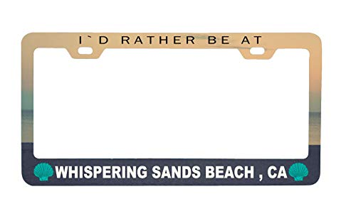 (R and R Imports Whispering Sands Beach California Sea Shell Design Souvenir Metal License Plate Frame)