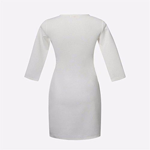 Arco del bolsillo de manga larga de algodon cuello redondo vestido vestidos de las mujeres ocasionales atractivas blanco
