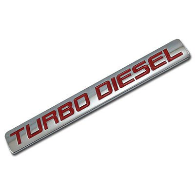 Chrome/Red Metal Turbo Diesel Engine Race Motor Swap Badge For Trunk Hood Door for Mitsubishi Mighty Max (Mitsubishi Mighty Max Hood compare prices)