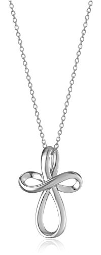 Sterling Silver Infinity Cross Pendant Necklace -