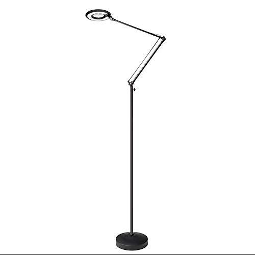 Lámpara de pie BRESSLO articulada, negro, Blanco neutro ...