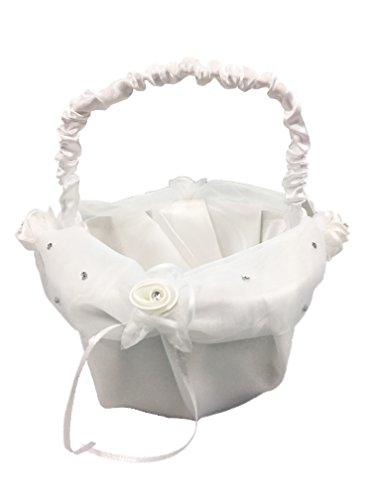 8.5'' Inch White Satin Wedding Basket with Petals & Rhinestones - For Flower Girl, Flowers, Roses, Petals, Anniversaries, & Weddings (Basket 1, Turquoise Petals) by LACrafts