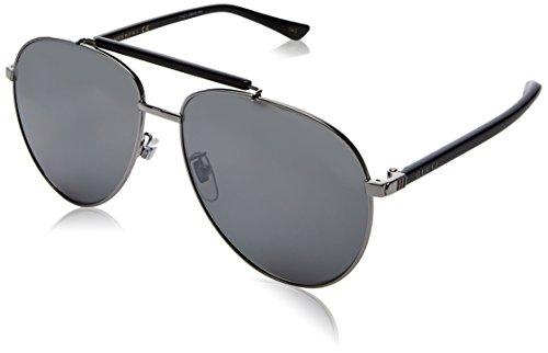 Gucci Men GG0014S 60 Gunmetal/Silver Sunglasses - Ruthenium Sunglasses