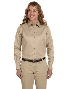 Harriton Ladies' Easy Blend Long-Sleeve Twill Shirt with Stain-Release XS Stone (Stone Stain Release)