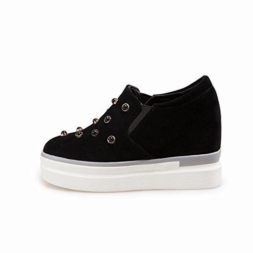 Pied De Charme Femmes Plate-forme Ouest Caché Talon Loafer Chaussures Noir  ... 3ea450ed4e57