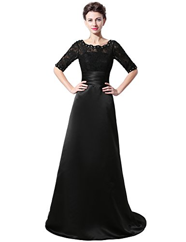 Sarahbridal Women's Long A-line Lace and Satin Mother of the Bride Dress Formal Gown US26 Black