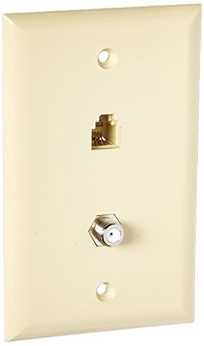 Morris 80056 Single RJ11 4 Conductor Phone Jack and Single F Conductor Wall Plate, Ivory
