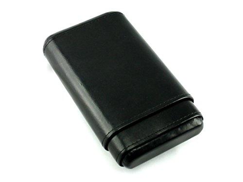 Skyway Stonewall Leather Cigar Case Holder with Cedar Lining - Black
