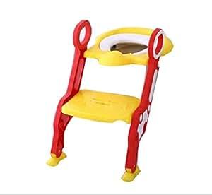BOC Escalera del Inodoro para Niños Inodoro Niño Orina Orinal Silla para Baño Infantil Asiento de Inodoro Plegable con Reposabrazos Soporte Adecuado para 1-7 Años,B,Pretil
