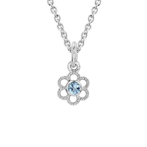 Sterling Silver Children's Aquamarine March Birthstone Flower Pendant (Flower March Birthstone)