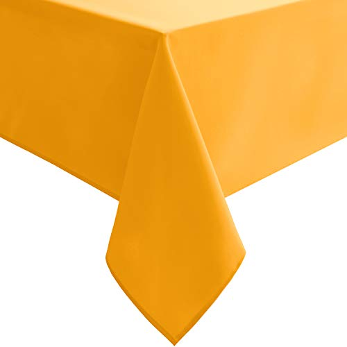 (Homedocr Solid Square Tablecloth - Stain Resistant, Washable and Spillproof Table Cloth for Dining Tables, Orange Yellow, 54 x 54)