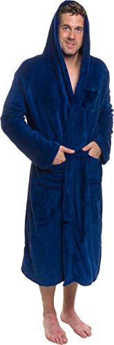 Blue Robe Hooded (Ross Michaels Mens Hooded Robe - Plush Shawl Kimono Bathrobe (Navy, XXL))