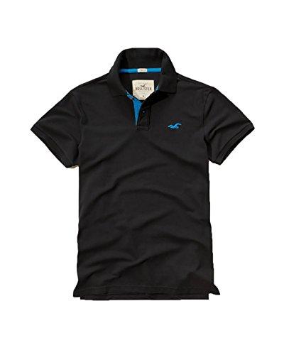 Hollister Mens Polo Shirt T Shirt  Medium  Stretch Black