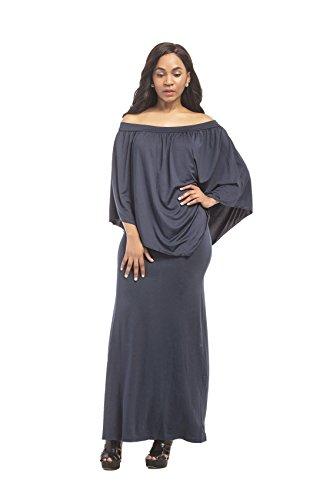 oscuro Largo Cloak Popover Escote Cape Larga Cuello de Ajustado M Poncho Maxi Long 3 Vestido Azul Estilo Lápiz Tubo 4 Bodycon Bardot Columna Manga rwPxBrqUp