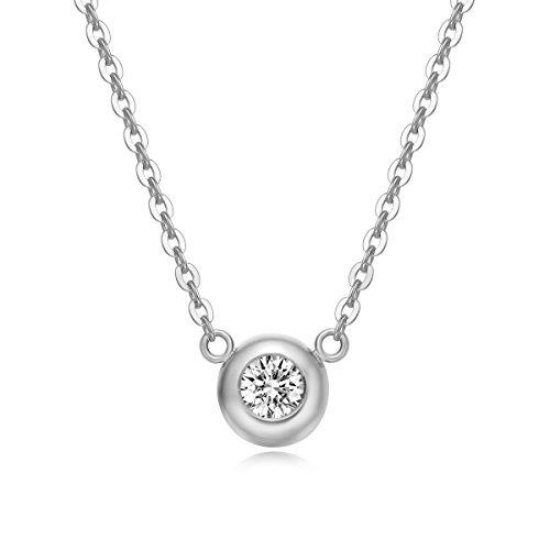 Carleen Solid 18K White Gold Solitaire Round 0.10ct Diamond Pendant Neckace for Women Girls, 18