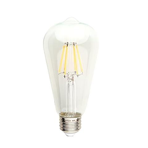 LED 6w Edison Style Light Bulb - exposed fillament dimmable LED light bulb, 60w equivalent, ST21(ST64) Antique Shape, 2700K warm (60w Led Edison Bulb)
