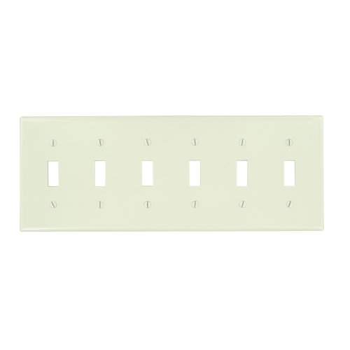 Leviton 78036 6-Gang Toggle Device Switch Wallplate, Thermoset, Device Mount, Light - Plate 6 Wall Toggle