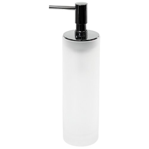 Gedy Tiglio Round and Free Standing Soap Dispenser in Glass, Transparent White