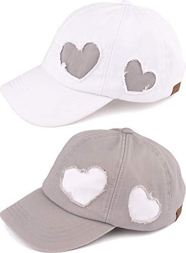 H-206-2-1020921 Baseball Cap Bundle: Heart White & Grey 2 Pack