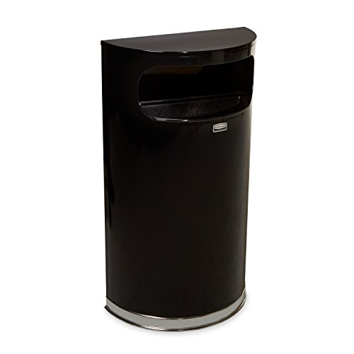 Rubbermaid Commercial Half-Round Trash Can, 9 Gallon, Black/Chrome, FGSO820PLBK