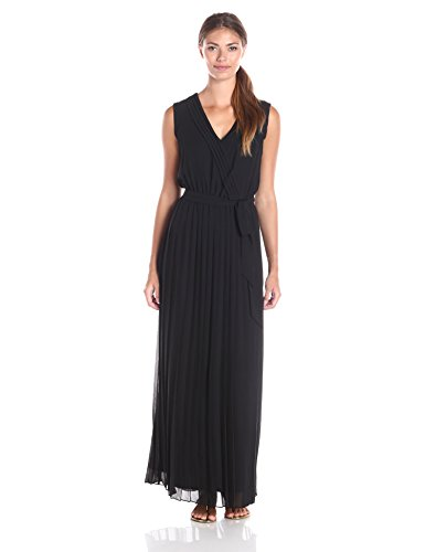 Jessica Simpson Women's Pleated Chiffon Maxi Dress, Black, - Simpson Jessica 2016