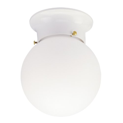 Westinghouse 6660700 One-Light Flush-Mount Interior Ceiling Fixture, White Finish with White Glass Globe