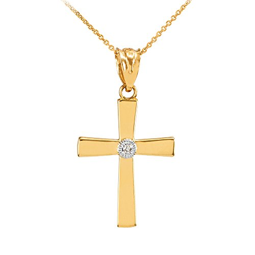 14k Gold Polished Diamond - Polished 14k Yellow Gold Solitaire Diamond Cross Pendant Necklace, 18
