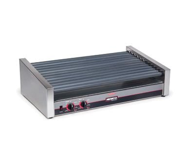Nemco 8055SX-SLT Roll-A-Grill, Hot Dog Grill, 55 Hot Dog Capacity (1100 Per Hour), Gripslt Coated Rollers with 7 Degree Slant