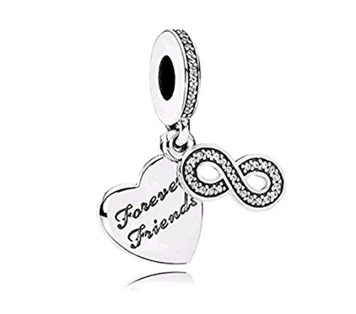DH Love Heart Forever Friends Charms Infinity Dangle Bead fit Pandora Bracelet