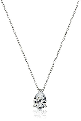 Platinum Plated Sterling Teardrop Zirconia Necklace