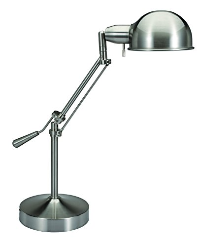 V-LIGHT Pharmacy Style CFL Desk Lamp with Height-Adjustable Tilt-Arm Feature, Brushed Nickel (VS687372BN)