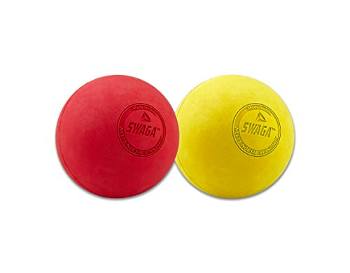 Swaga Massage Balls - Red/ Yellow (Set of 2) Massage Balls for Trigger Point Therapy, Massaging Muscle Knots, and Yoga Therapy Firm Balls