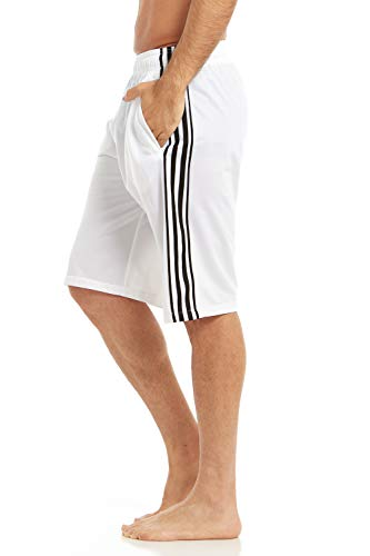 (DARESAY Men's Running Shorts with Pockets, Long Tricot Athletic Workout Gym Shorts for Men, White/Black Stripes, Large)