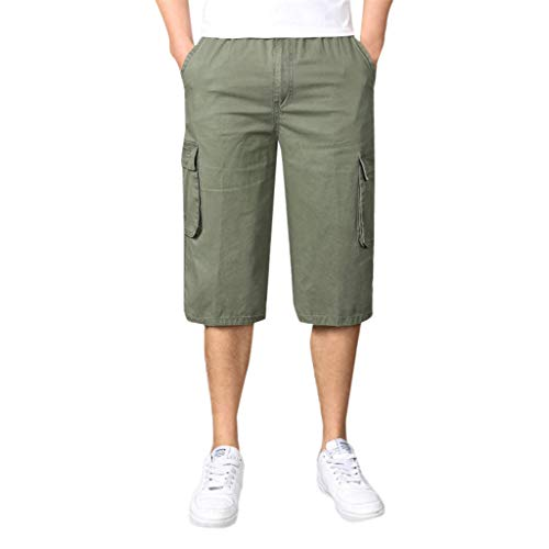 Seaintheson Men's Cargo Shorts,Summer Comforteble Lightweight Outdoor Overalls Pants Casual Elastic Straight Camo Sweatpants