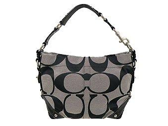cb833890ce5e Amazon.com   Authentic Coach signature Carly bag black white 12871   Makeup  Bags And Cases   Beauty