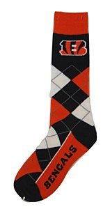 Cincinnati Bengals Argyle Lineup Socks by Fore Bare Feet