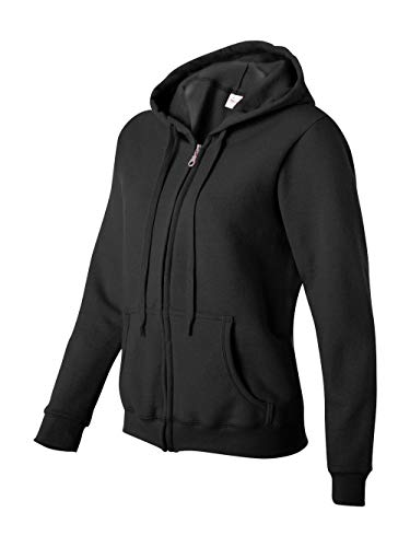 Gildan Women's Heavy Blend Full-Zip Hooded Sweatshirt, Black, -