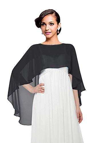 (Wedding Capes Womens Soft Chiffon Shrug Bridal Long Shawl and Wraps, Black One)