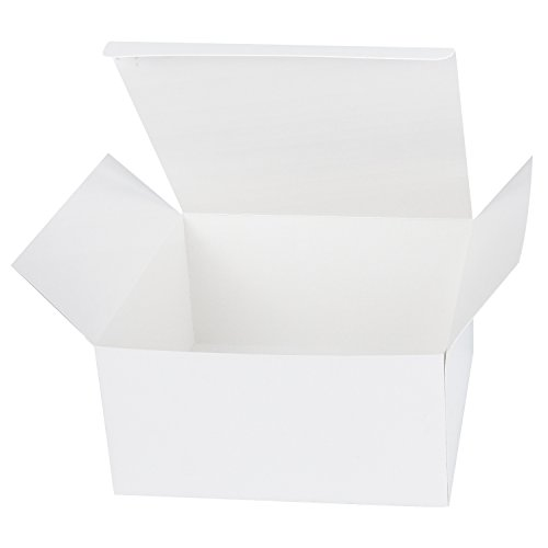LaRibbons 20Pcs Recycled Gift Boxes - 8 x 8 x 4 inches White Paper Box Kraft Cardboard Boxes with Lids for Party, Wedding, Gift Wrap