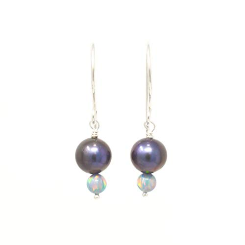 (Freshwater cultured peacock pearl sterling silver earrings with simulated opals June birthstone)