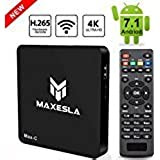 Maxesla Max C Android 7.1 Newest C Smart 1GB Ram + 8GB Rom, Upgrade Amlogic S905W Chipset, True 4K Uhd Playing, Support H.265 Video Decoder, 2.4GHz Wifi TV Box with Remote C