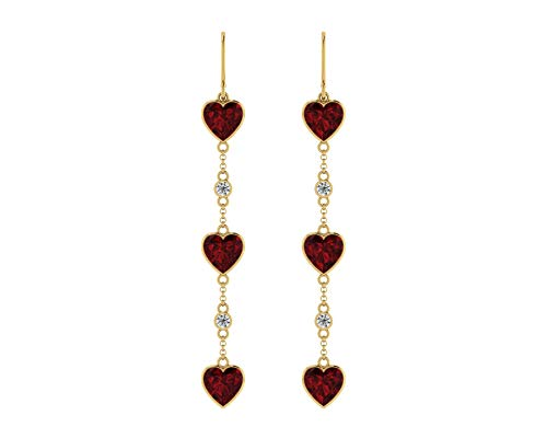 Euforia Jewels 14K Yellow Gold With Top Quality Natural Garnet 5.23 Carats Heart Cut and 0.12 Carats Natural Diamond (SI1-SI2/F-G-H) Round Full Cut Dangler Earrings ()