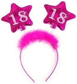 PartyDeco Haarreif zum 18. Geburtstag mit bunter Federboa und Sternen für Mädchen, Modell:Op18-Karton