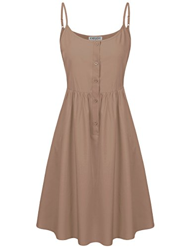 EMVANV Women Summer Dress Solid Color Slip Mini Sundress Casual Tunic Sling Dress