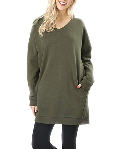 Zenana Plus Oversized Loose Fit V-Neck Tunic Length Sweatshi